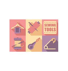 Sewing tools settailoring equipment dressmaking vector