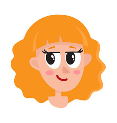 smiling girl woman head avatar with sholder vector image