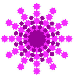 Snowflake from pink and burgundy rays on a white vector
