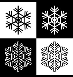 snowflake symbols icons simple black white set 5 vector image