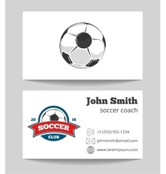 Soccer coach business card template with logo vector