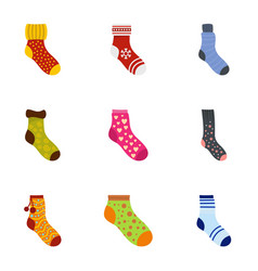 sock icons set cartoon style vector image