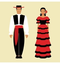 Spanish man and a woman in national costume vector