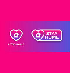 Stay home signs for social media - purple vector