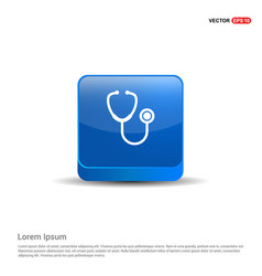 stethoscope icon - 3d blue button vector image