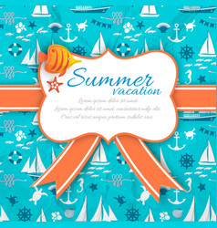 summer vacation banner on blue nautical background vector image