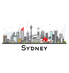 Sydney australia skyline with gray buildings vector