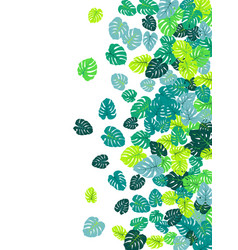 Teal tropical jungle leaves scatter vector