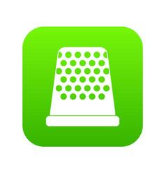 Thimble icon digital green vector