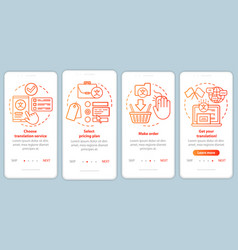 Translation service process red onboarding mobile vector