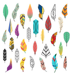 Tribal flat feather different style bird vintage vector