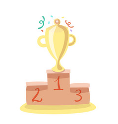 trophy cup flat cartoon icon with vector image