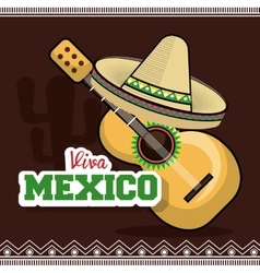 Viva mexico instrument musical isolated poster vector