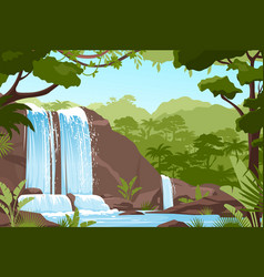 waterfall jungle landscape with rock cascade vector image