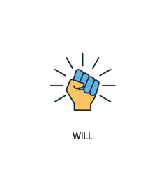 Will concept 2 colored line icon simple yellow vector