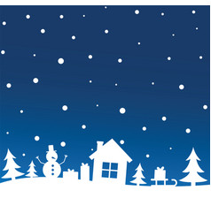 Winter night sky with snowfall over trees house vector