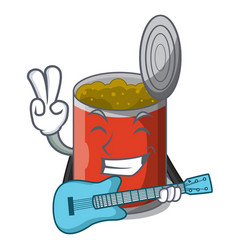 With guitar canned food on the table cartoon vector