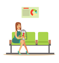 Woman sitting in waiting hall with her parrot in a vector