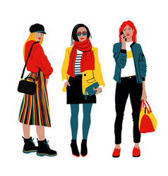 women s spring street style detailed female vector image
