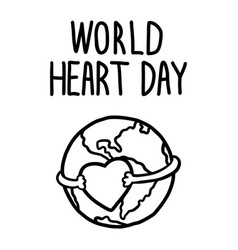 world heart day concept background hand drawn vector image