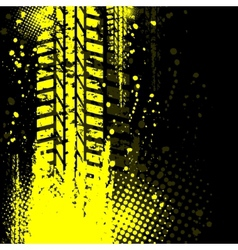 Yellow background tire track vector image