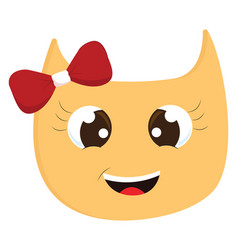 yellow smiling cat with red hair bow on white vector image