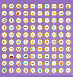 100 delivery icons set in cartoon style vector image
