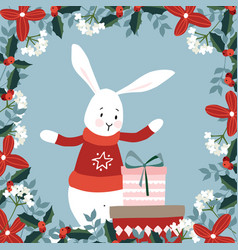 cute christmas greeting card invitation with hand vector image
