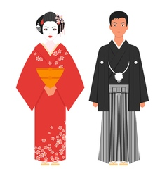 flat style of Japanese traditional clothing vector image vector image