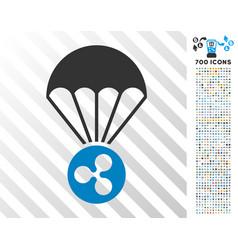ripple parachute flat icon with bonus vector image vector image