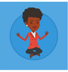 businesswoman meditating in lotus position vector image vector image