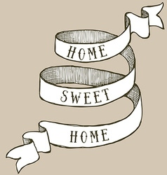 Home sweet home ribbon vector image vector image
