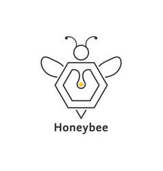 honeybee like thin line logo vector image vector image