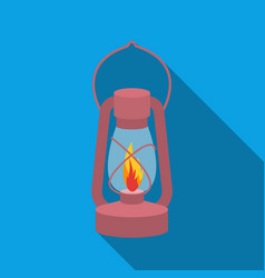 kerosene lamp icon in flat style isolated on white vector image