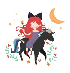Whimsical girl on black unicorn vector image vector image