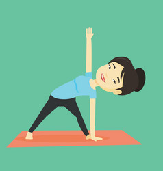 woman practicing yoga triangle pose vector image
