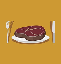 Beef Steak Cutlery knife and fork vector image