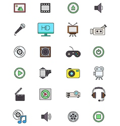 Color multimedia icons set vector image