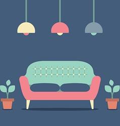 Flat Design Interior Vintage Sofa vector image vector image