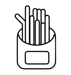 french fries icon outline line style vector image