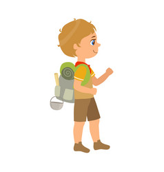 girl scout carrying a backpack side view a vector image vector image