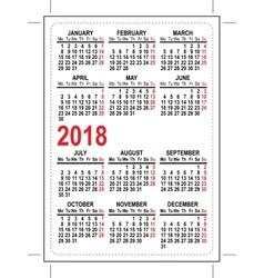 Grid pocket calendar 2018 vector image vector image