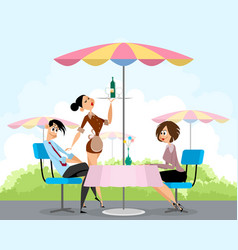 pals in summer cafe vector image