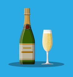 bottle of champagne and glass vector image vector image