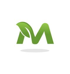 letter m leaf logo vector image vector image