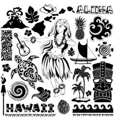 Retro set of Hawaiian icons and symbols vector image vector image