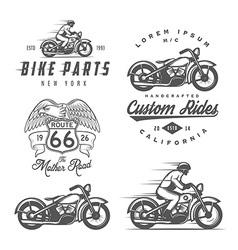 Set of vintage motorcycle design elements vector image vector image