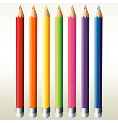 Seven colorful pencils vector image