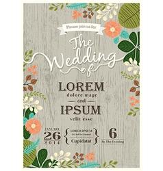 Vintage wedding invitation card floral background vector