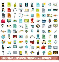 100 smartphone shopping icons set flat style vector image